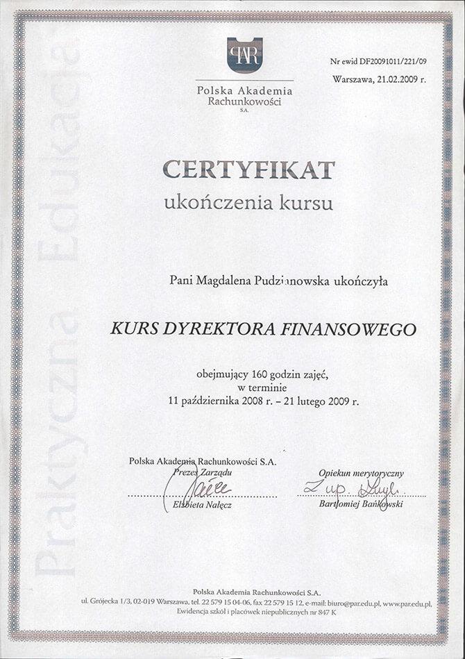 Certyfikat ukończenia kursu Dyrektora Finansowego Magdalena Pudzianowska-Kuśnierkiewicz