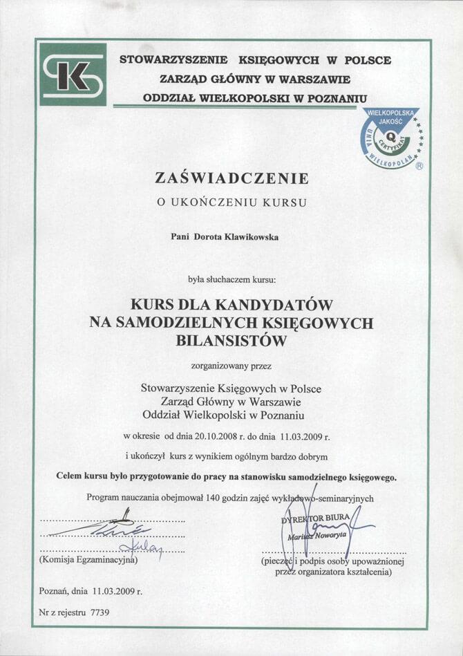 Zaświadczenie ukończenia kursu dla kandytatów na samodzielnych księgowych bilansistów Dorota Klawikowska