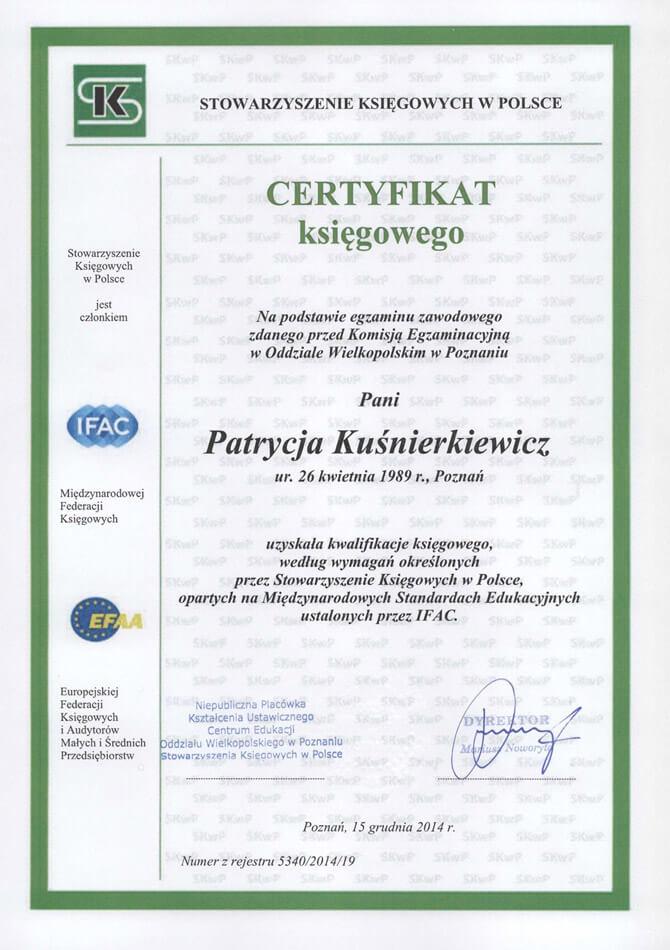 Certyfikat księgowy Patrycja Kuśnierkiewicz