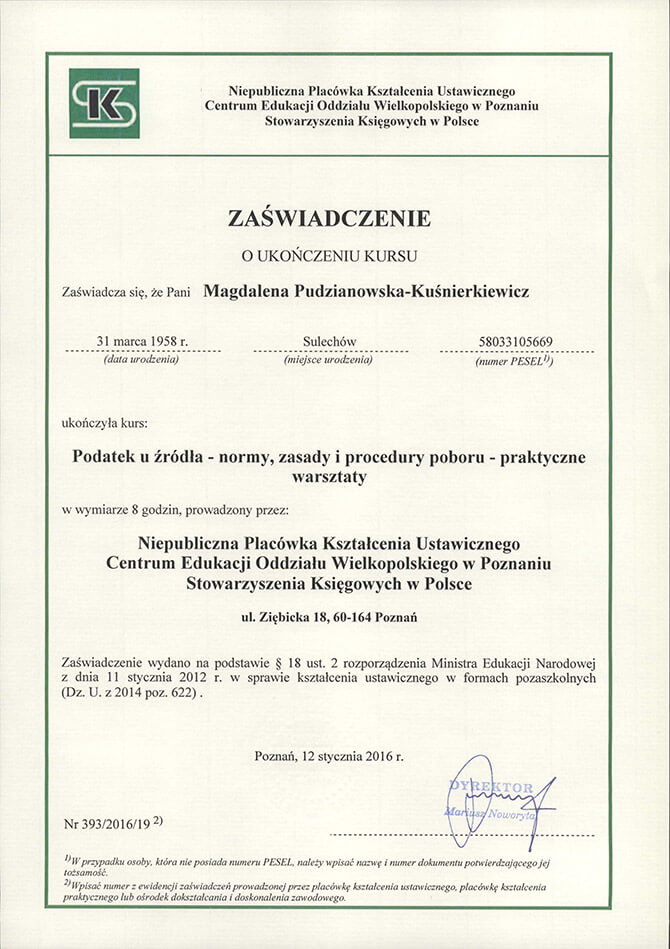 Zaświadczenie ukończenia kursu Magdalena Pudzianowska-Kuśnierkiewicz