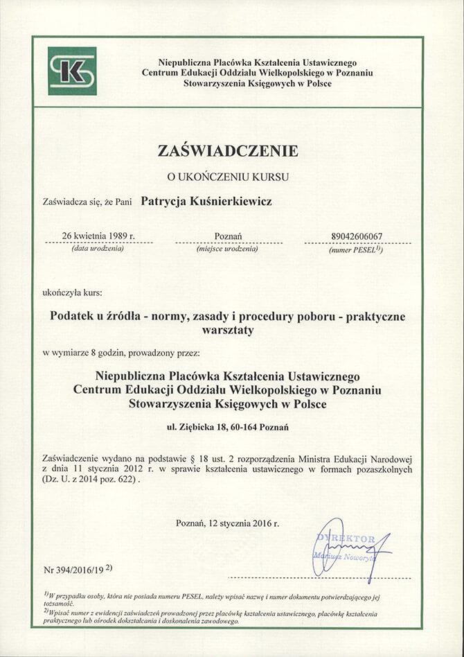 Zaświadczenie ukończenia kursu Patrycja Kuśnierkiewicz