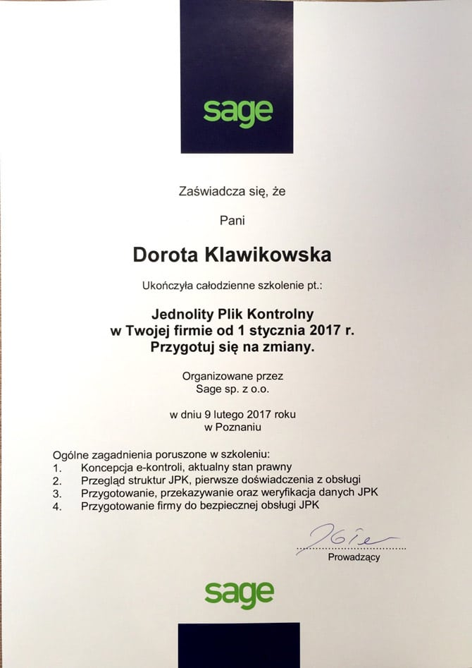 Zaświadczenie ukończenia szkolenia Dorota Klawikowska