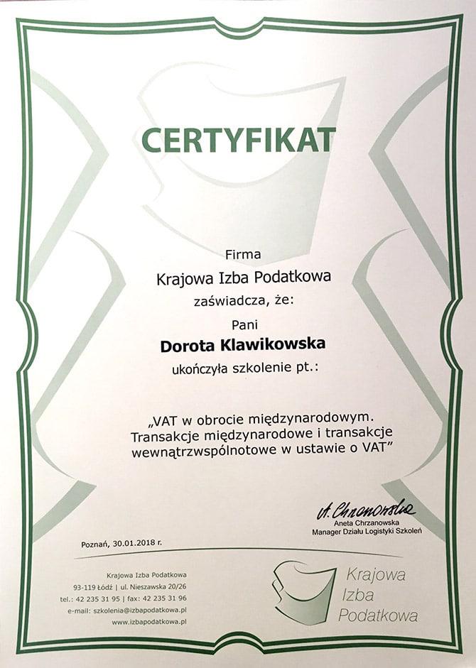 Certyfikat Dorota Klawikowska