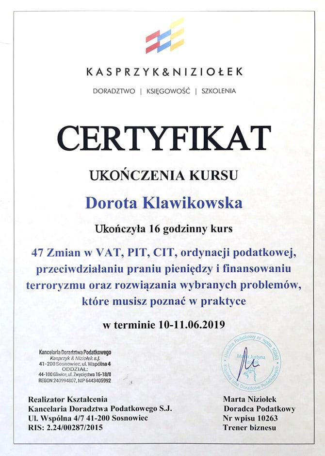 Certyfikat ukończenia kursu Dorota Klawikowska