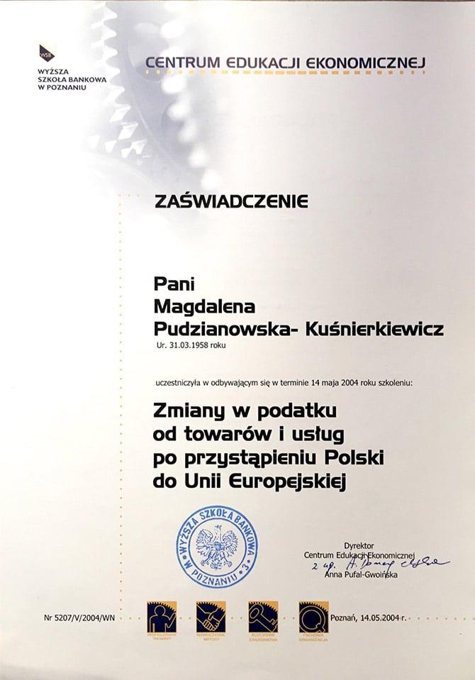 Zaświadczenie Magdalena Pudzianowska-Kuśnierkiewicz