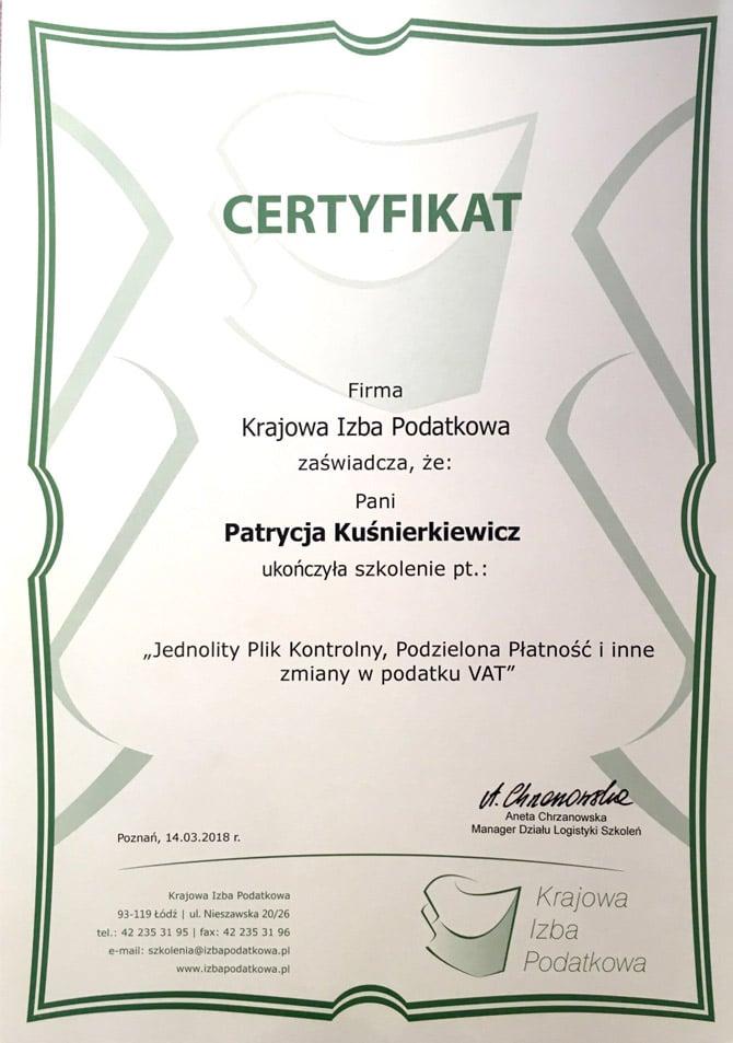 Certyfikat Patrycja Kuśnierkiewicz