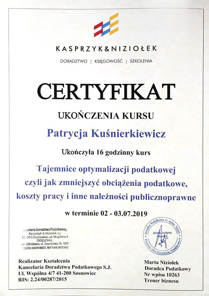 Certyfikat ukończenia kursu Patrycja Kuśnierkiewicz